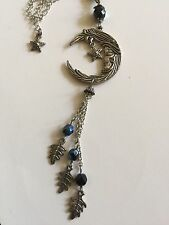 Silver Pewter Moon Star And Leaf Pendant Titanium Beads New Pagan Witch Goddess