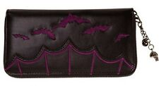 Banned Gothic Bats Faux Leather WALLET Purse Zip Vampire Horror Emo Black Purple
