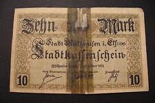 RARE  BILLET DE MULHOUSE  1918  / 10 MARK réparé d'époque  -  FORTE COTE !!