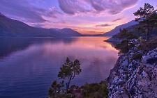 Incorniciato stampa-Viola SCENIC vista lago dell' Alaska (PICTURE POSTER PAESAGGIO ART)