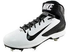 New Nike Men's US 9 Huarache Pro Mid Metal Baseball Cleat White / Black $95