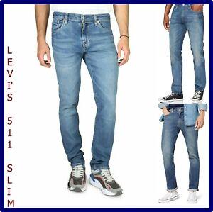 Levis 511 jeans da uomo slim fit pantaloni levi's w28 w29 w30 denim gamba dritta