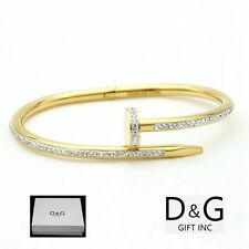 "NEW DG Gift Women's Stainless Steel Gold 6.5"" Nail Design CZ Bangle Bracelet+Box"