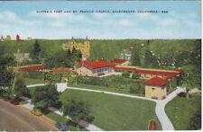 Sutter's Fort & Church, Sacramento, CA, Linen  Postcard