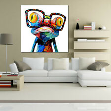 Cool Animal Oil Painting Glasses Frog Hand Painted Canvas Art Bedroom Decor
