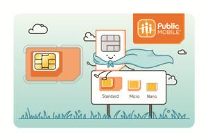 Public Mobile Multi SIM Card (Nano + Micro + Regular) LTE Canada Prepaid