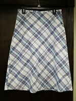 Tommy Hilfiger Womens Blue, Gray, White Tartan Plaid Cotton Skirt Size 6