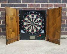 Vintage Halex Electronic Hanging Deluxe Wood Cabinet Dart Board 64468 READ