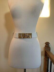 Judith Leiber White Snakeskin Belt Gold Buckle Expandable Curved Stones
