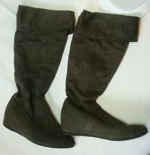 Aldo Gray Faux Suede Tall Boots with Fold Over Cuff Size 7.5