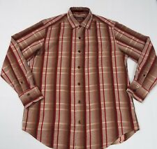 Tommy Bahama Small 100% Silk Maroon Brown Check/Stripe Long Sleeve Button Up M11