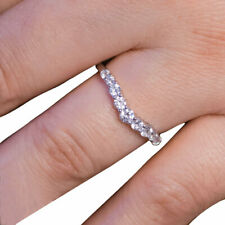 0.54Ct White Round Diamond Engagement Wedding Band In Solid 925 Sterling Silver