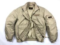 Vintage Men's Polo Ralph Lauren Military Beige Down Puffer Bomber Jacket - M/L -