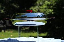 Glo Hill  Chrome Art Deco  Relish Dish Lidded Divided Glass Dish Bakelite handle
