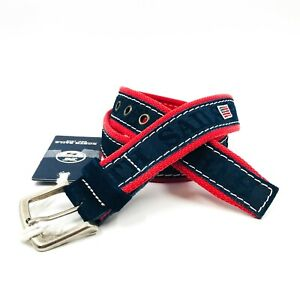 NORTH SAILS Blue Red Suede Leather Cotton Yachting Sailing Belt Made in Italy
