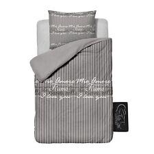 Ti Amo Microfaser Bettwäsche Beautiful Home grau Stripe 135 x 200  Shabby Style