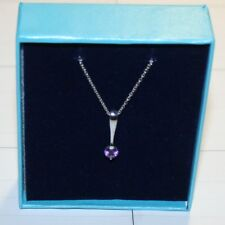 0.50ctw Round Purple Amethyst Dangle Pendant Necklace 14k white gold over 925 SS