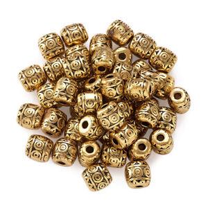 50x Tibetan Style Alloy Barrel Beads Golden Nickel Free Metal Beads Spacer 6x6mm