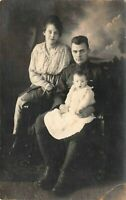 Proud Parents and Their Baby Family Portrait Antique RPPC Real Photo Postcard