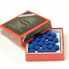 25 X 9mm Leather Blue Diamond Snooker Pool Cue Tips - Free Sandpaper