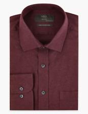 M&s Marks Spencer Männer Regular Fit Baumwolle Twill Hemd Burgundy Bnwt