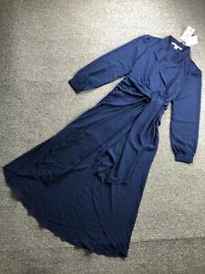 DVF Diane Von Furstenberg Long Dress Elegant Blue Wrap Dress