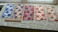"5 Antique French Silk c1910 Geometric Fabric Samples~L-15"" X W-7.5"""