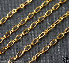 10ft of Gold Plated Long and Short chain 4X2mm, flat chain, bulk gold chain