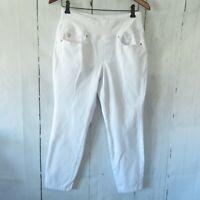 Belle by Kim Gravel Womens Size 8P White Jeans Capri Flexibelle Pull On Crop