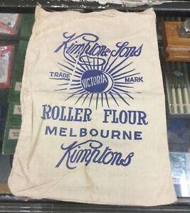 Vintage Kimptons & Sons Rolled Flour Cloth Bag Melbourne Victoria