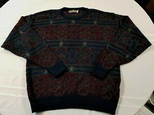 Jantzen Men's Vintage Made in USA Navy Blue & Burgundy Sweater, Size XLT