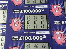 3 Dark Blue Pig Fake Joke Lottery Scratch Cards