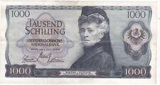 Österr. Banknote 1000 Schilling, gebraucht, 1966