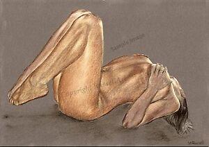 A4 A3 A2 'Feeling' Erotic Female Nude Art Print of original drawing - RussellArt