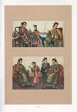 VINTAGE FASHION COSTUME PRINT ~ CHINA THE IMPERIAL COURT NIUTZE PRINCESS EMPEROR