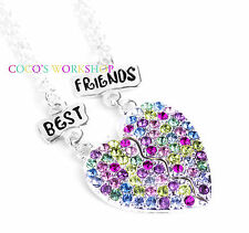 Best Friends Bff Cristal Colgante Corazón 2 en 1 Set Collar de Chica Amistad