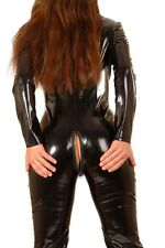 Shiny Sexy Black Stretch PVC / Spandex Catsuit / UK Size16 /18  Free P&P