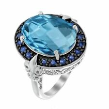 925 Sterling Silver Blue Topaz & Sapphire Gem Stones Rings Men's Jewelery