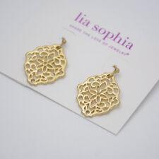 lia sophia jewelry antique matte gold drop dangle hoop earrings hollow flower