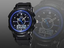 OHSEN XL Military Dual Time LED Digital Analog Mens Blue Big Sport Wrist Watches