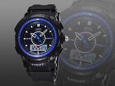 OHSEN XL Military Dual Time LED Digital Analog Mens Blue Big Sport Wrist Watches