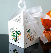 50x Sweet Love Laser Cut Candy Gift Boxes W/Ribbon Wedding Favors sweets Boxes