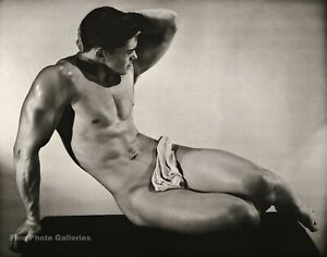 1950s BRUCE BELLAS Of L.A. Vintage Handsome Male Nude Gay Photo Engraving 12X16