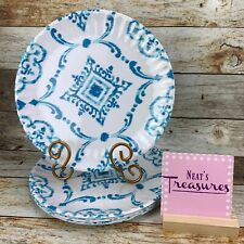 ARTISTIC ACCENTS Melamine White Blue Design Round Dinner Plates Set of 7
