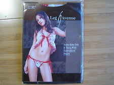 Leg Avenue halter baby doll with thong embroidered hearts BNWT Brand New