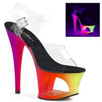 Pleaser MOON-708UV Women's Clear Neon Multi Heel Cut-Out Platform Strap Sandals