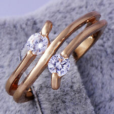 Womens Fashion Rings Yellow Gold Filled Clear Crystal Rings Jewelry Size 7