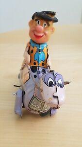 Vintage Louis Marx Toys Flintstones Fred on Dino Tin Wind Up - 1962