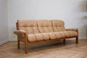 DELIVERY£80 Mid Century Norwegian Ekornes Stressless Teak 3 Seater Leather Sofa