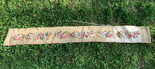 Antique Vtg Needlepoint Handmade Wall Hanging Floral Cross Stitch Table Runner